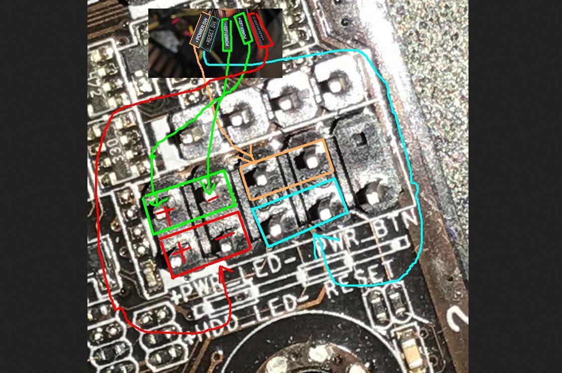 华硕主板与机箱主要的连接如下所示。 电源开关接线如下所示:  按照以上图片连接后即可按下电源键开机。