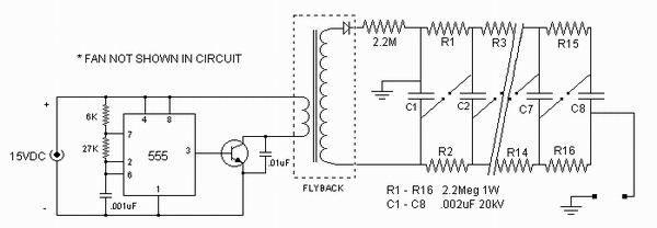 它由555时基集成电路和高压晶体管构造而成,驱动一个电视机用的高压包