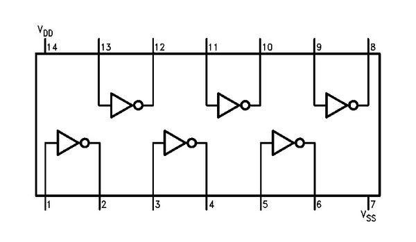如何辨别cd4069在电路图中符号表明的引脚