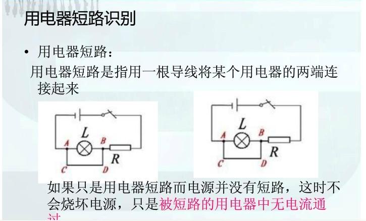 用电器短路,就是用导线将用电器的两端连接起来(注意:导线的两端之间不能有电源)  从正极一直到负极如果其中有一条线没有电阻或者用电器的话就短路就好像迷宫一样电阻,用电器就器就是门如果随便一条线可以绕过门就能回到负极就短路谁短谁两端没电压,谁断谁两端有电压,可以把所有的 除了电池外所有用电器都改写成灯泡,然后看有没有一条路是直接连接电源正负极的就可以了,都改成灯泡比较清楚 实在不行想象一下把电流比作水流,从正极流出,在导线里流动,在发现有两个出口后,优先选择阻力小的通过,则阻力大的那根导线上面的用点