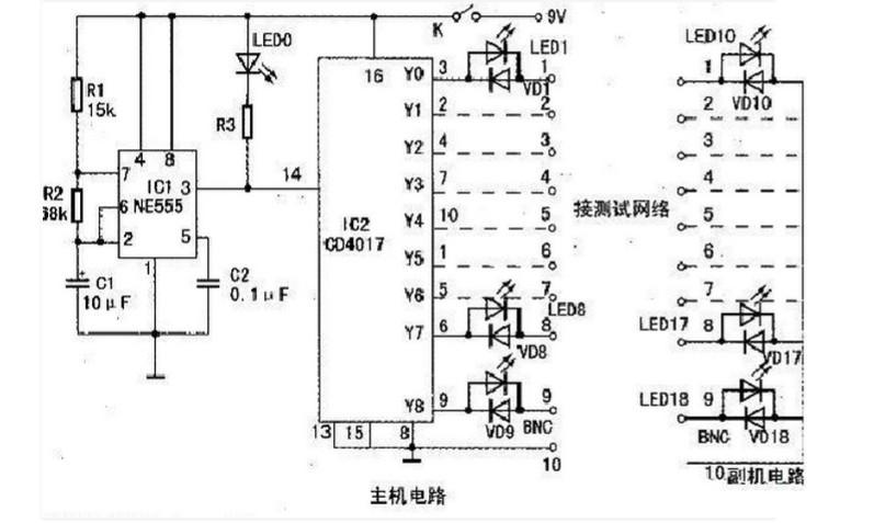 其工作原理是:     接通电源后,ne555得电工作,产生方波,led0闪亮.