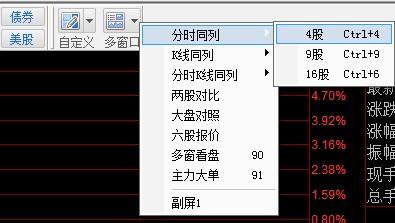 股票软件中怎样设置一个界面同时显示四个窗口