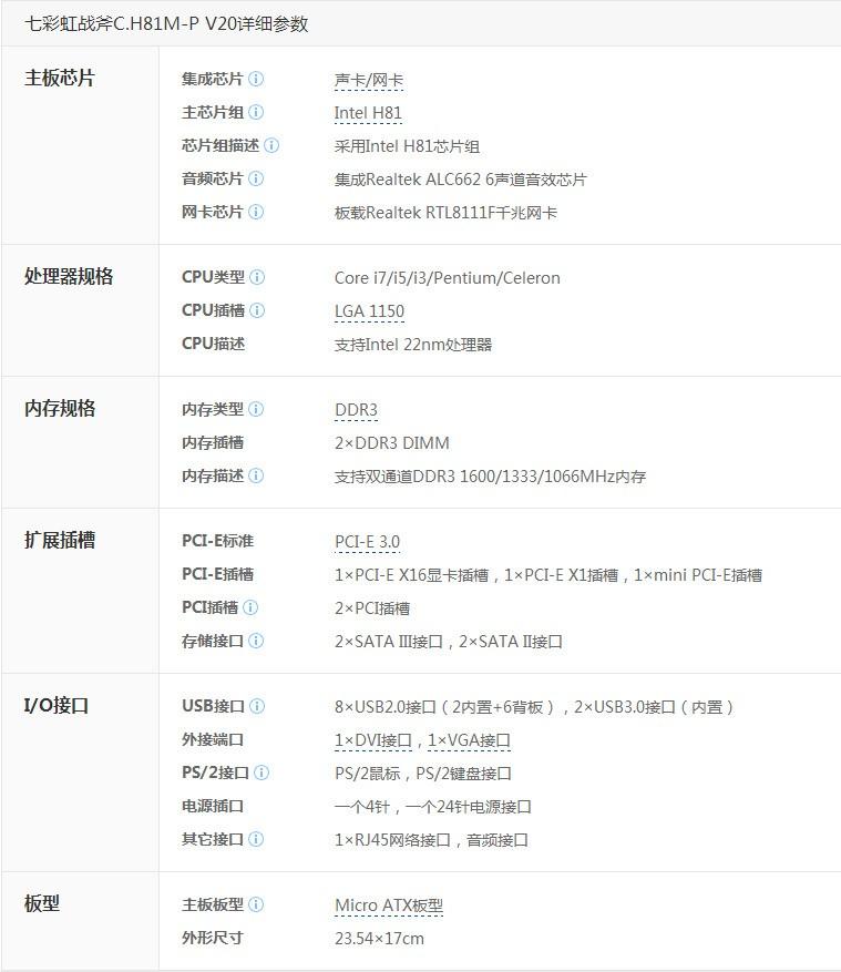 七彩虹c.h81m pro参数