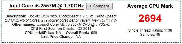苹果电脑的i5-2557m和i5-4260u处理器综合性能相較哪个更好