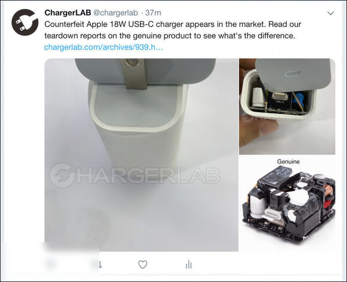 高仿苹果18W USB PD充电器应该怎么辨别?