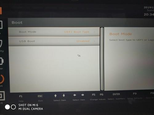 小米air13.3电脑重装系统后把boot改成uefi模式出现nobootabledevices