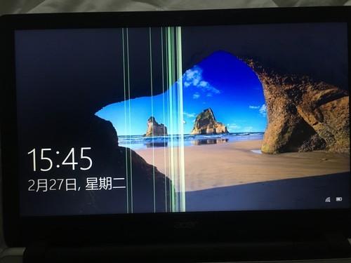 电脑开机发现屏幕出现竖纹。哪里坏了?