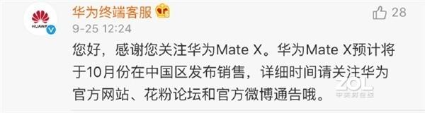 华为Mate X国行版什么时候发售?